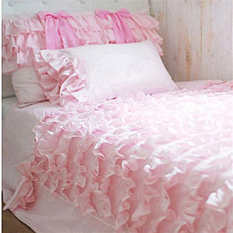 twin ruffle comforter twin pink waterfall ruffled bows bedding setduvet by