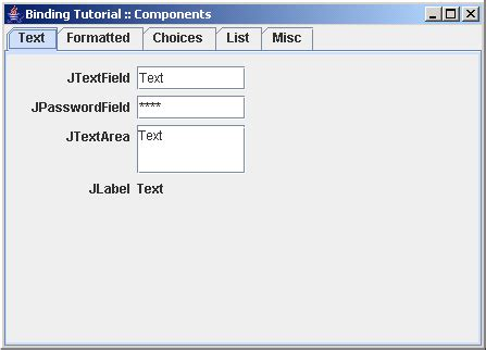swing components in java with exle demonstrates how to bind different value types to swing