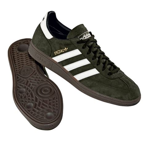 mens adidas spezial dark olive green leather casual
