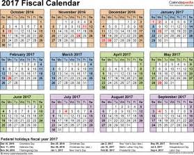 Template 4 fiscal year calendar 2017 for excel landscape orientation