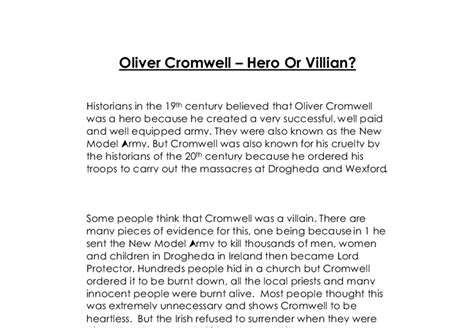 Oliver Cromwell Essay by Oliver Cromwell A Level History Marked By Teachers