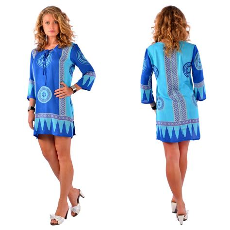 Tunic Helena Tunic 1 abstract tiki cover up tunic dress in turquoise blues