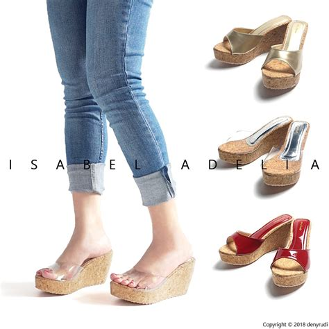 Sepatu Wanita Wedges Gold farah sepatu sandal wanita wedges gold merah