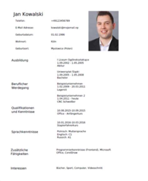 profesjonalne cv po niemiecku lebenslauf bezpłatny