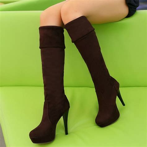 shoespie cheap soft leather knee high boots knee high