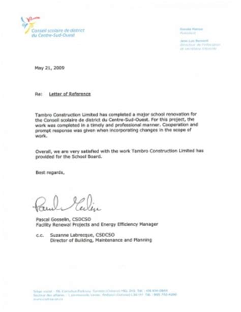 Reference Letter For Work Completed Reference Letters Tambro Construction