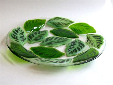 leaf pattern glass plates fused glass plate leaf pattern by cdchilds on etsy