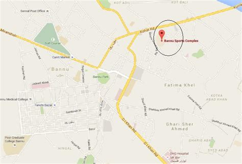 location road map bannu sports complex kohat road location map