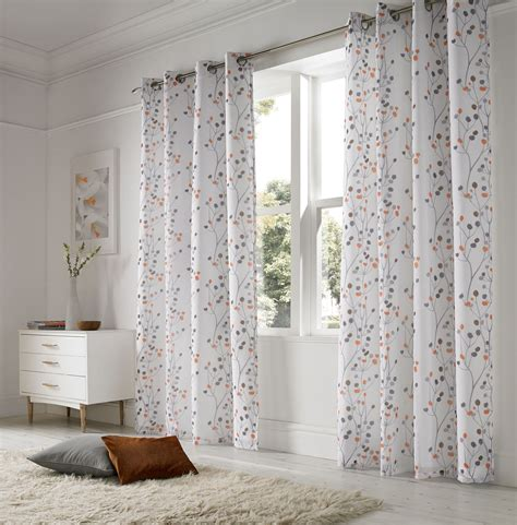 voile curtains linen look floral orange white lined ring top voile curtains drapes 2 sizes ebay