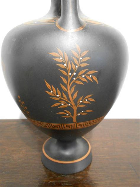 Wedgwood Black Basalt Vase by Wedgwood Encaustic Decorated Black Basalt Vase Sale