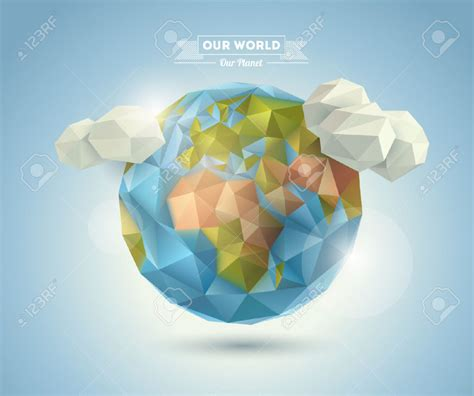 Origami World - free coloring pages world background in origami style