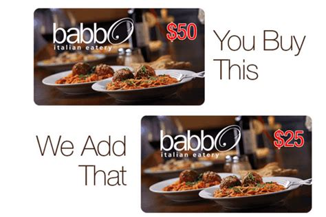 Babbo Gift Card - babbo italian eatery bonus 25 gift card with 50 gift card purchase