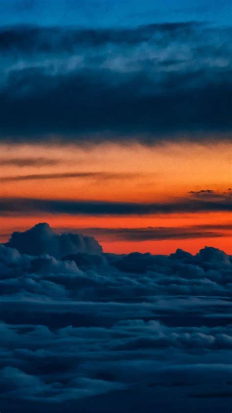 orange sky clouds nature sunset wallpaper