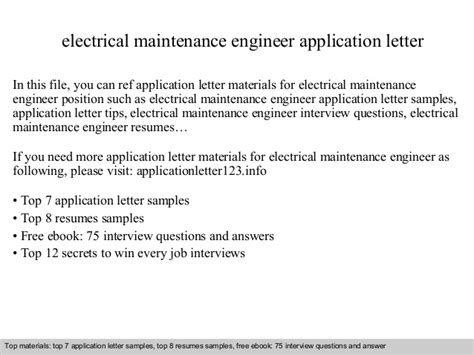 Request Letter Format To Electricity Board Electrical Maintenance Engineer Application Letter