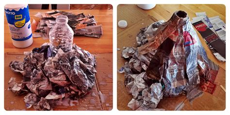 how to make a paper mache volcano persil