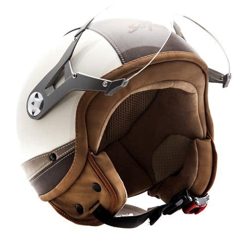 Mofa Helm by Soxon Sp 325 C Leder Jet Helm Vespa Helm Roller