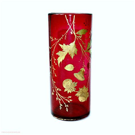 Cranberry Vase Antique Heavy Cranberry Vase Hand Painted Gilt Autumn Leaves