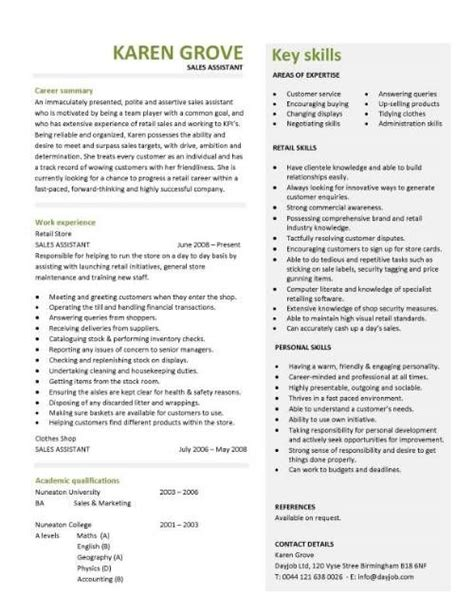 retail assistant resume template retail cv template sales environment sales assistant cv
