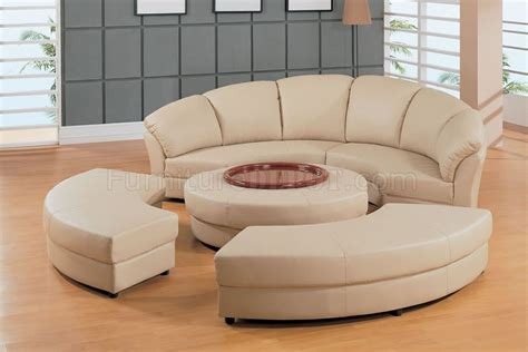 Half Moon Leather Sofa beige leather half moon shape five sectional sofa