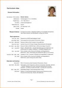 Curriculum Vitae Academia by Pics Photos Curriculum Vitae Format Download Pdf