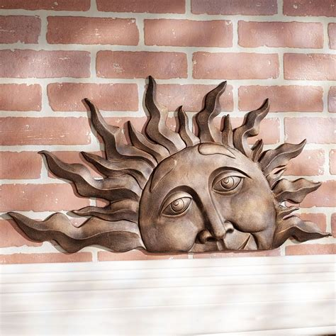 sun sculpture half sun face indoor outdoor metal wall plaque art