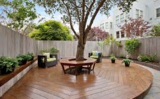 Backyard Covered Decks Tree Bench Designs That Literary Embrace Nature