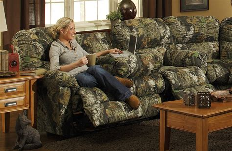 camoflage couch catnapper cuddler dual reclining sofa with selec table and