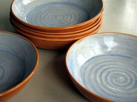 Handmade Pasta Bowls - handmade pottery ceramic stoneware clay set of six