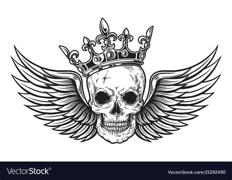 skull with wings tattoo designs human skull with wings and crown for design