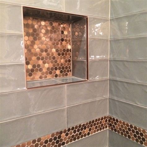 copper bathroom tiles bathroom focal point tile brushed copper rounds metal
