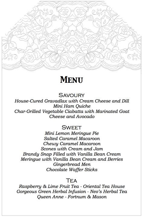 Aussie Mum High Tea Birthday Afternoon Tea Menu Template