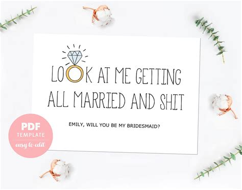 of honor card template bridesmaid card bridesmaid template card made of