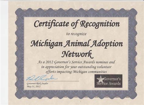 awards certificates and nominations 187 michigan animal