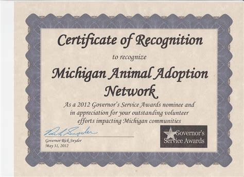 Awards, certificates and nominations » Michigan Animal