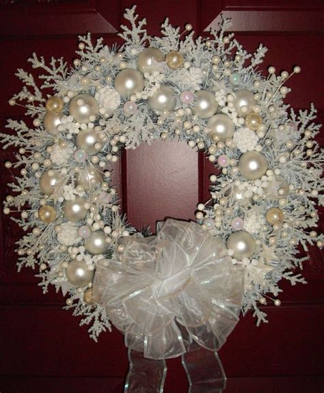 snow white shabby cottage chic handmade christmas wreath