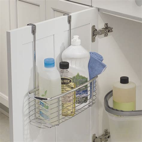 kitchen cabinet door organizer axis chrome over cabinet storage basket in cabinet door