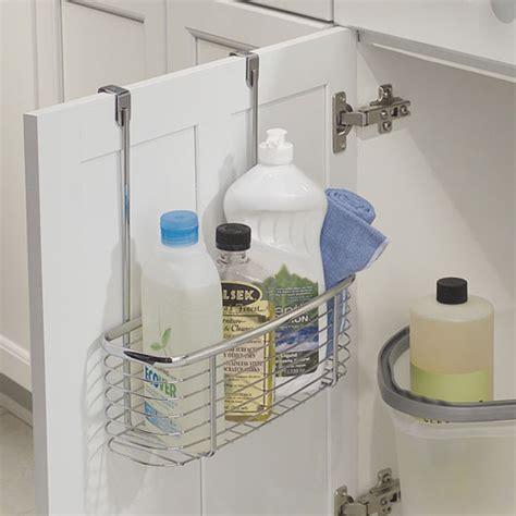 axis chrome cabinet storage basket in cabinet door