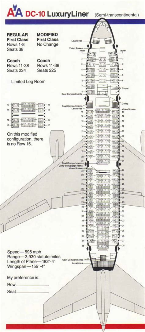 dc10 seating plan american airlines aa aircraft reference facts information