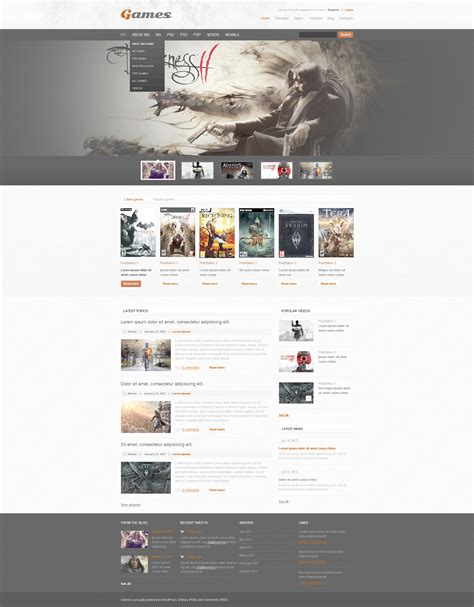 game layout psd game portal psd template 57394
