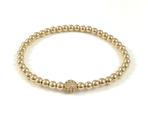 bead bracelet 14k gold stretch bead bracelets