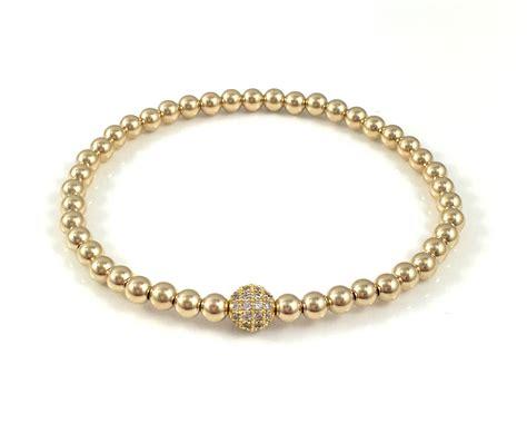 gold bead bracelet 14k gold stretch bead bracelets