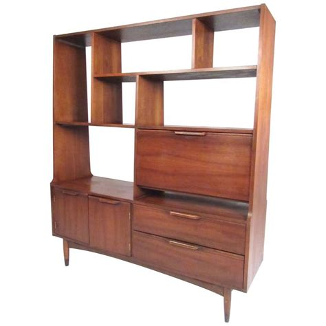 mid century modern walnut bookshelf room divider at 1stdibs
