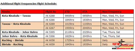 airasia schedule airasia increases flights to east malaysia johor