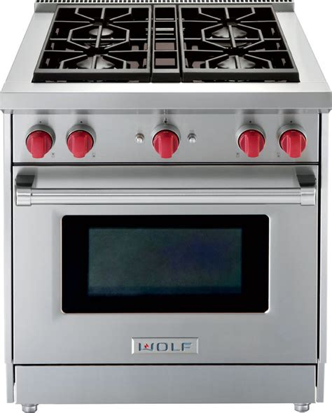 Wolf Gas Cooktop Knobs by Wolf Gr304 30 Inch Pro Style Gas Range With 4 Dual Stacked