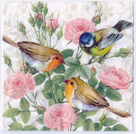 Bird Decoupage Paper - decoupage paper napkin birds and flowers 1