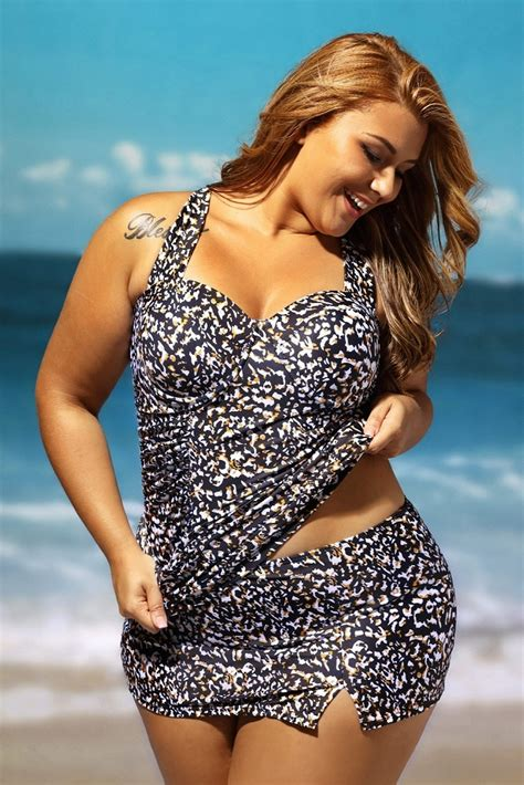 Set Print Swim Top Skirt plus size swimsuit 5x 6x leopard print balconette tankini