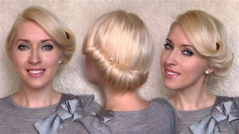 Vintage Wedding Hair Tutorial by Side Swept Rolled Updo Hairstyle For Medium Hair