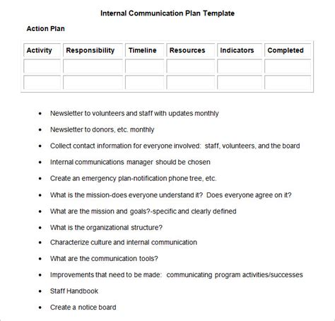 internal communication plan template 3 fee word pdf