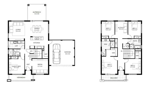 floor plans for 4 bedroom houses 2 story house plans two story four bedroom house plan with