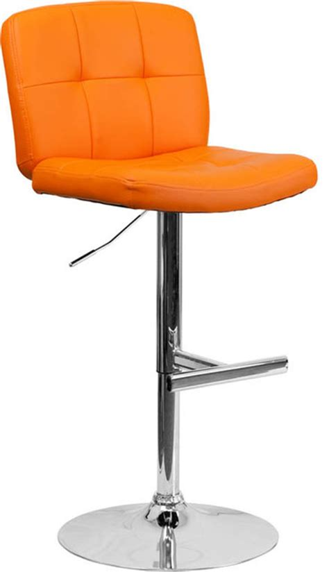 tufted orange vinyl adjustable height bar stool with